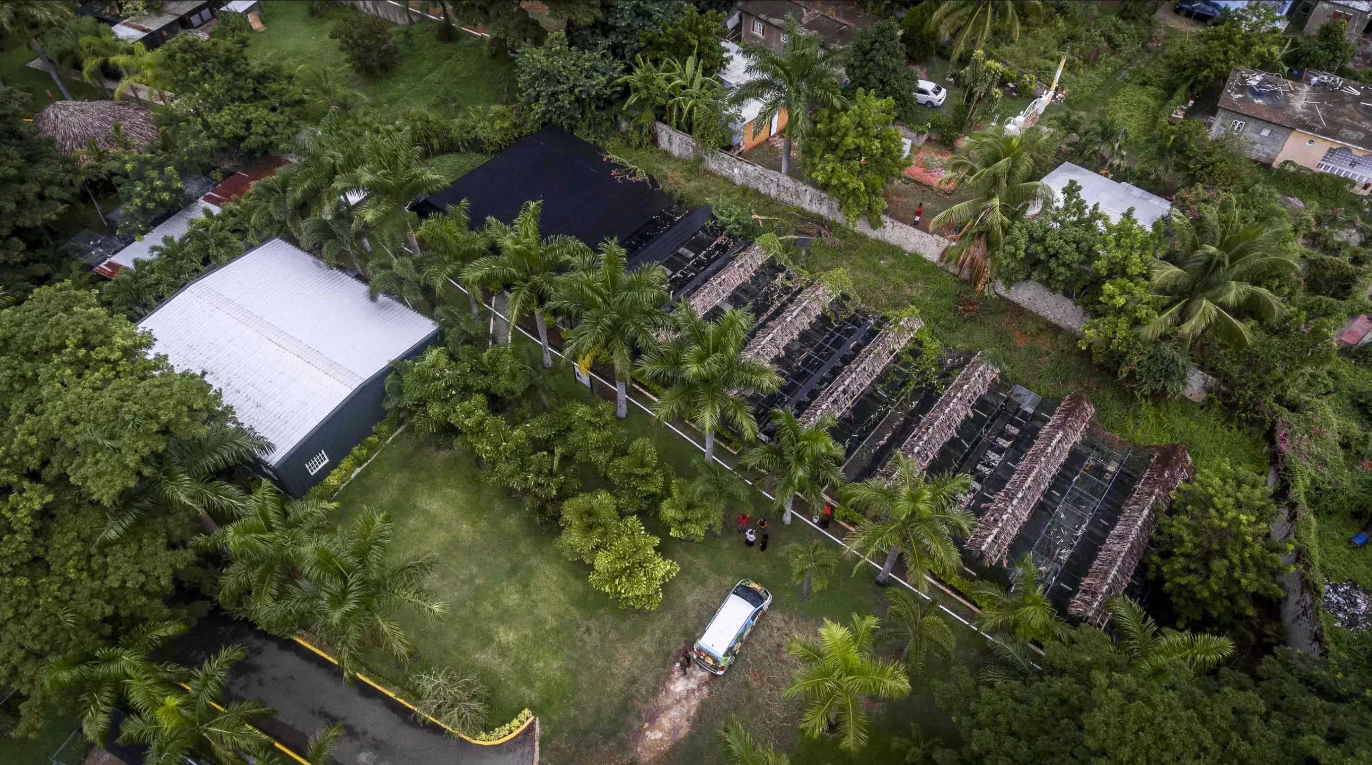 Drone view of Iguana enclousures on the roight and the diagnostic centre provided by SGP on the left