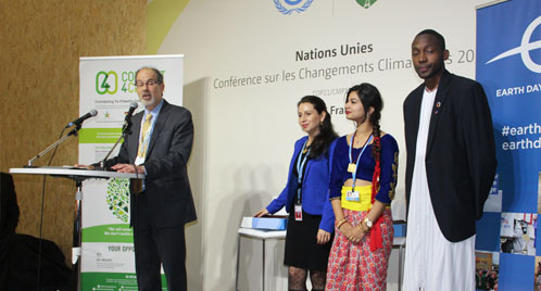 Winners of the Global Youth Video Competition are recognized at COP21