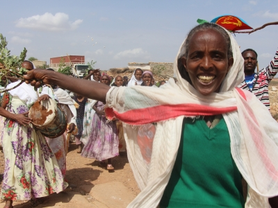 Eritrea community celebrating the arrival of solar equipment