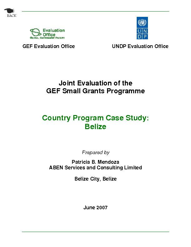 Belize SGP Case Study