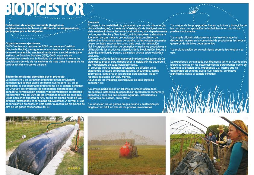 Biodigestor Fact Sheet - Climate Change - Uruguay