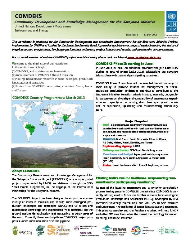 Community Development and Knowledge Management for the Satoyama