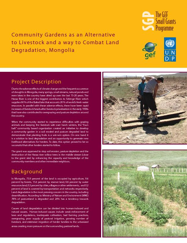 Community Gardens as an Alternative to Land Degradation
