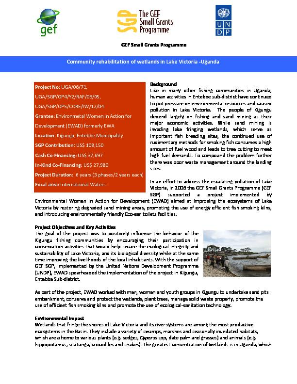 Community Rehabilitation of Wetlands in Lake Victoria
