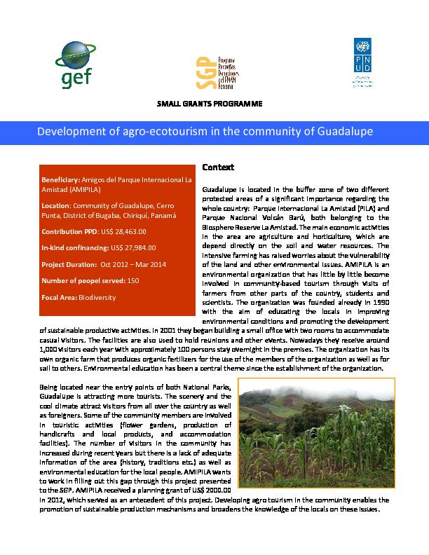Development of agro-ecotourism in the community of Guadalupe - Panama