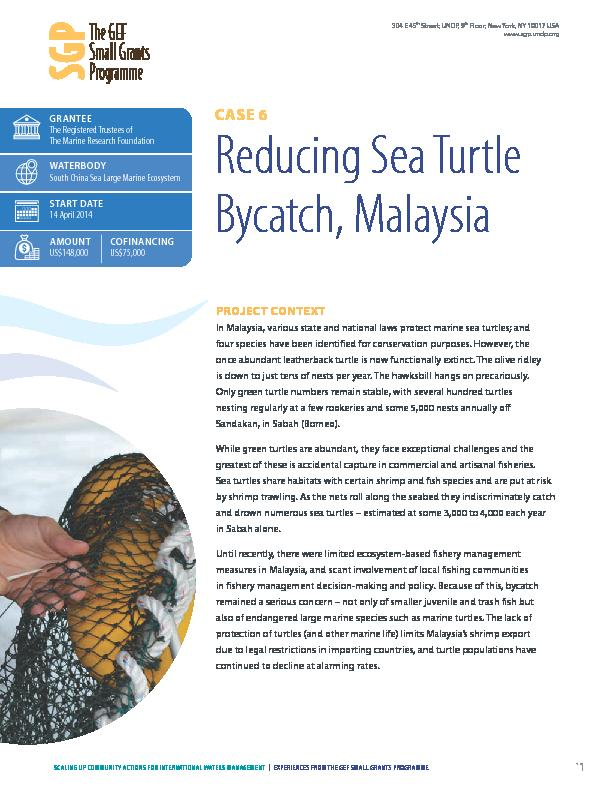 Reducing sea turtle bycatch, Malasyia