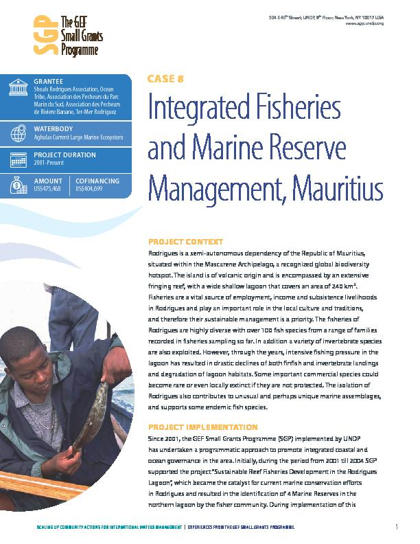 Integrated Fisheries and Marine Reserve Management, Mauritius
