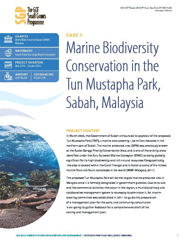 Marine Biodiversity Conservation in the Tun Mustapha Park, Sabah, Malaysia