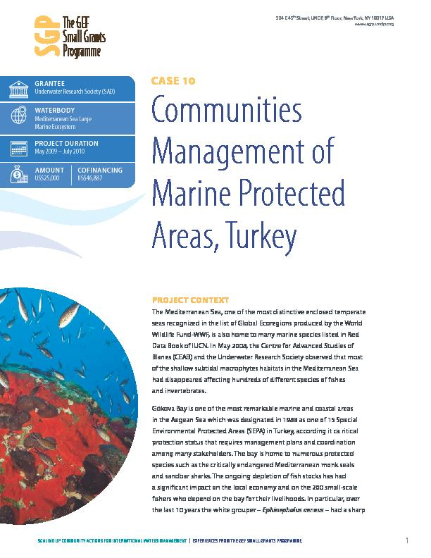 Communities Management of Marine Protected Areas, Turkey
