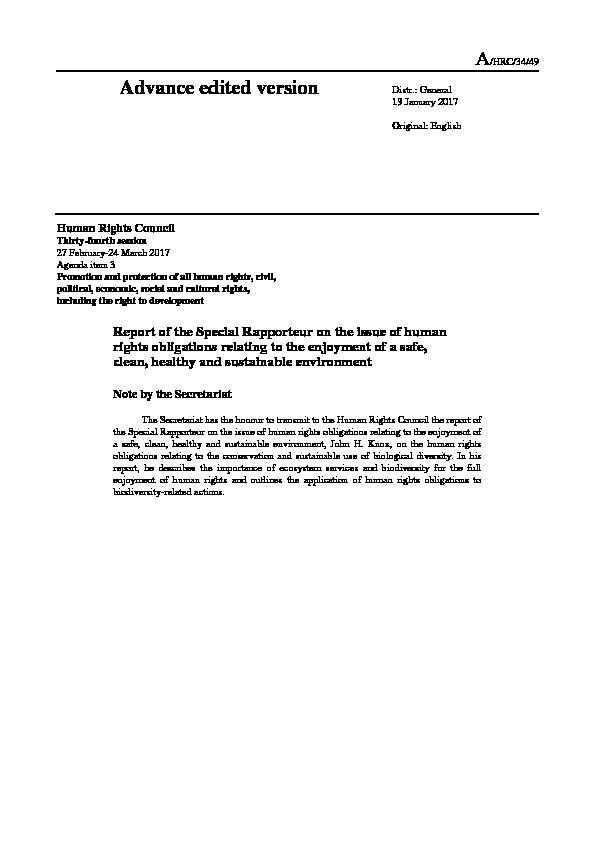 Report of the Special Rapporteur on the issue of human rights obligations relating to the enjoyment of a safe,  clean, healthy and sustainable environment