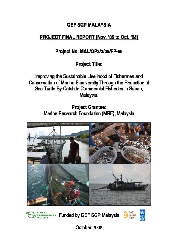 2008- Improving the Sustainable Livelihood of Fishermen and Conservation of Marine Biodiversity