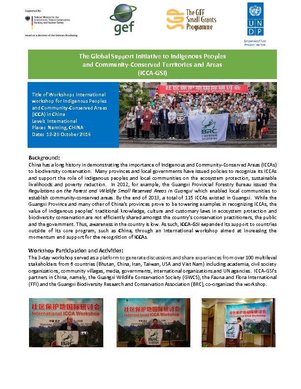 ICCA-GSI Workshop Report from Nanning, China