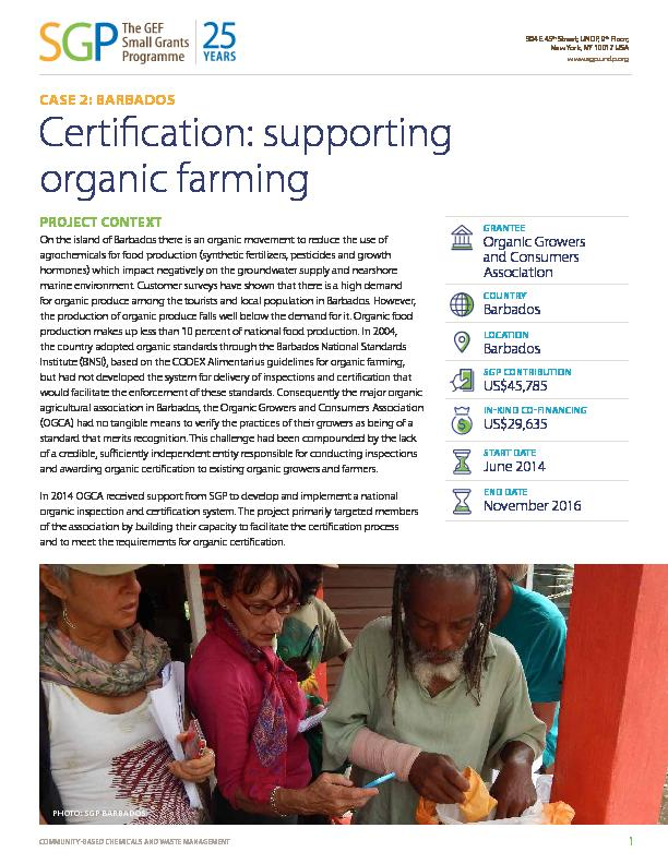 Barbados - Certification: supporting organic farming