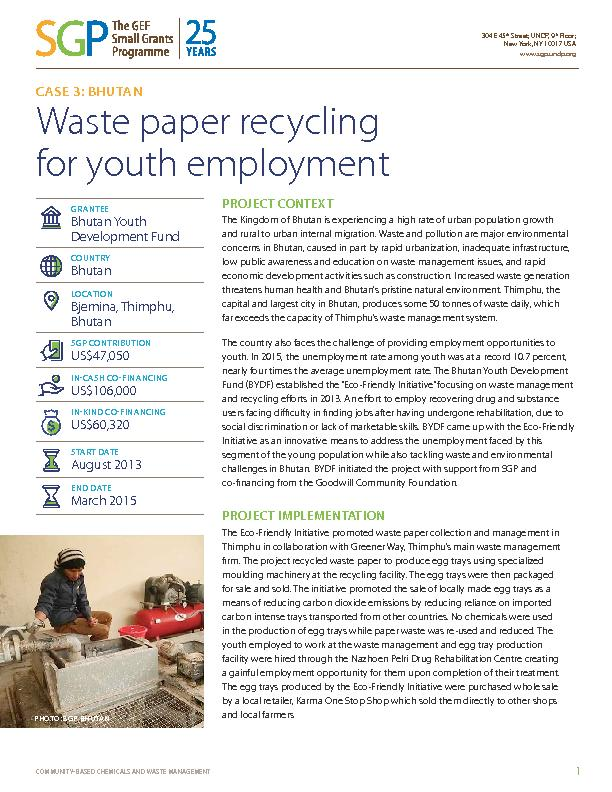 Bhutan: Waste paper recycling for youth employement