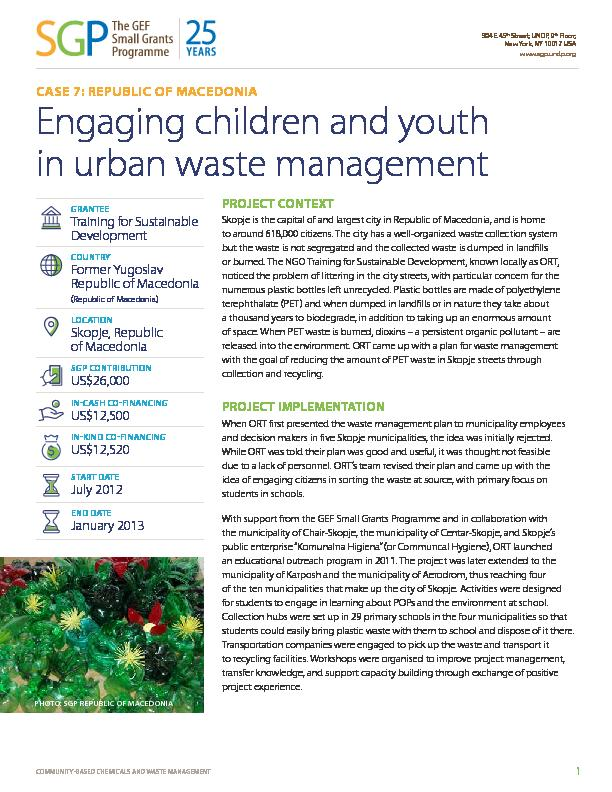 Macedonia: Engaging children and youth in urban waste management