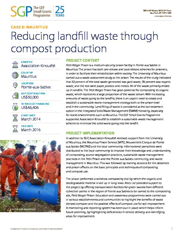 Mauritius: Reducing landfill waste through compost production