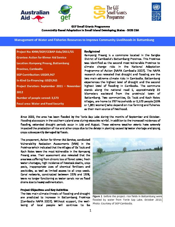Cambodia- Management of water and fisheries resources to improve Community livelihoods