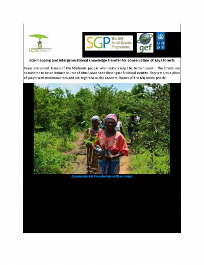 Eco-mapping and intergenerational knowledge transfer for conservation of kaya forests