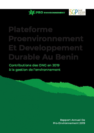 Annual report 2019 of the platform of environmental NGOs in Benin (PROENVIRONNEMENT)