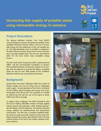 Jamaica - Increasing the supply of potable water using renewable energy