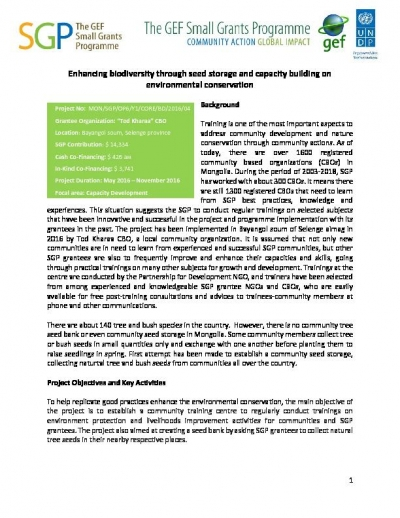 Enhancing biodiversity through seed storage and capacity building on environmental conservation
