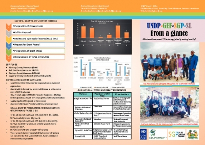 GEF SMALL GRANTS PROGRAMME (SGP) IN SIERRA LEONE FROM A GLANCE