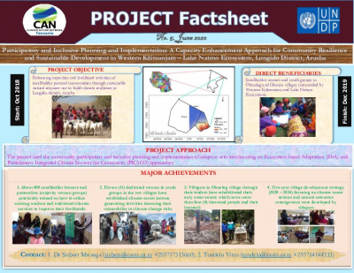 Project Fact sheet -Participatory and Inclusive planning and implementation: A capacity enhancement Approach for community resilience and sustainable development in western Kilimanjaro-Lake Natron ecosystem